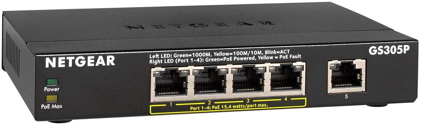 NETGEAR 5-Port Gigabit Ethernet Unmanaged PoE Switch (GS305P)